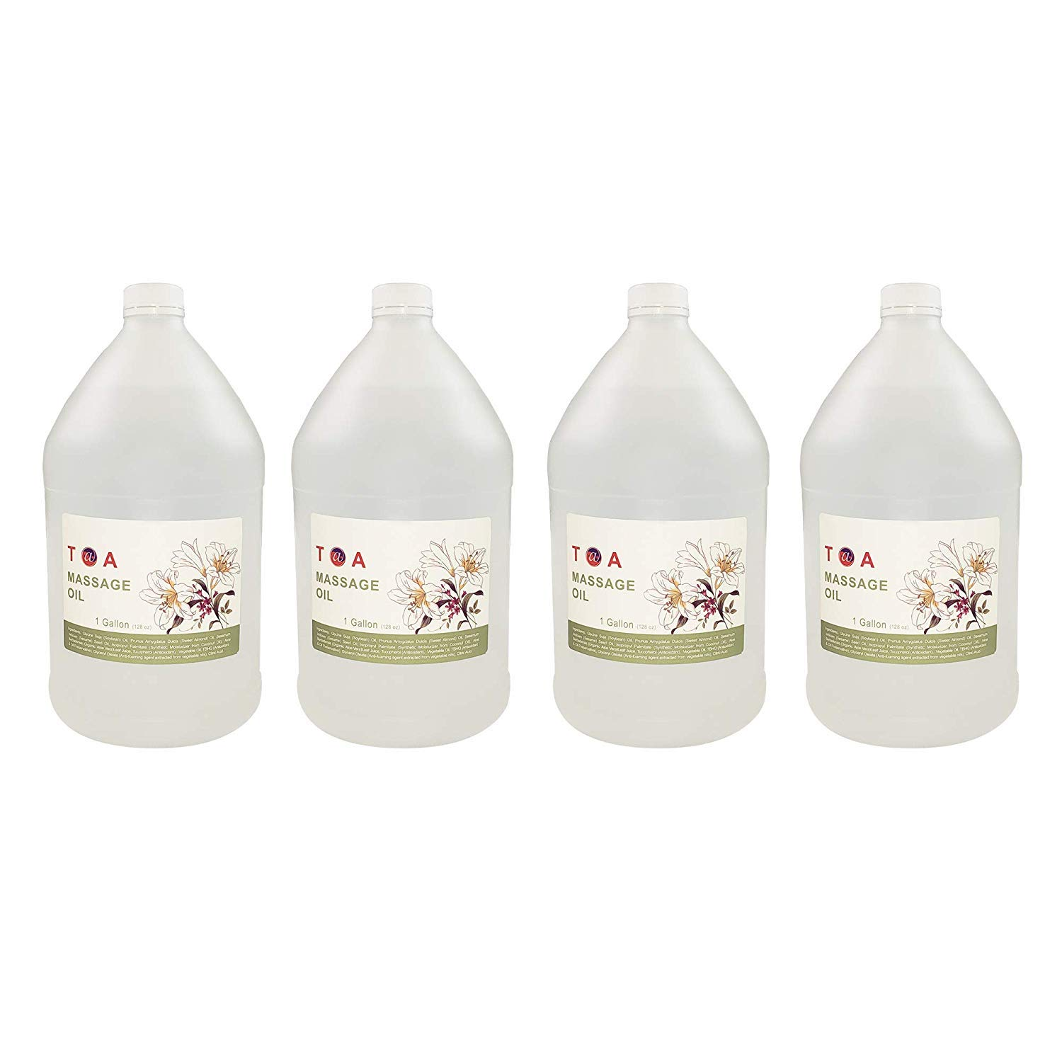 TOA Supply Mineral Oil Body Spa Massage for Therapists Unscented Gallon Bottle (4 Gallons)