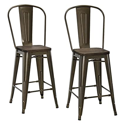 Bon DHP Luxor Metal Counter Stool With Wood Seat And Backrest, Set Of Two,  24u0026quot