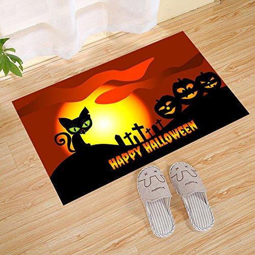 FANNEE Happy Halloween Theme Animation Style Pumpkin Tombstone Black Cat Moon Small Door Mat, Door Mat Entrance Floor Indoor Bathroom Carpet Front Door Mat with Anti-Slip Support -