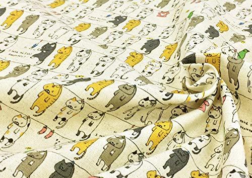 猫柄 生地【生成り】 洗濯にゃんこ 綿麻キャンバス コットンリネン 干されたネコ 動物 アニマル ねこ 猫 ネコ 布 布地 手芸【1m単位】