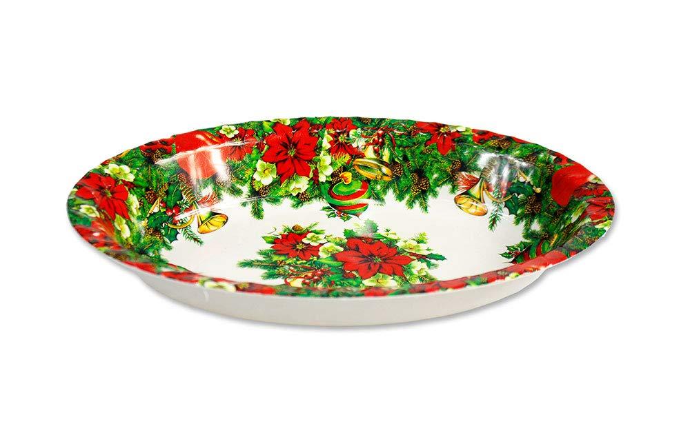 Vetrineinrete® Insalatiera ovale in plastica con decorazioni natalizie zuppiera per insalata frutta pranzo di natale centrotavola portafrutta varie dimensioni e fantasie (Grande - Addobbi natalizi) D16 vetrine in rete
