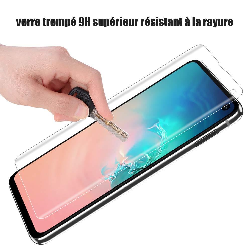 , Alinsea Verre Tremp/é Galaxy S10 Plus Film Protection /écran pour Samsung Galaxy S10+//Plus 1 Pi/èce Colle Plein /écran 3D Couverture Maximale Compatible avec Le capteur dempreinte Digitale