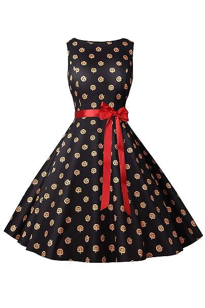 Suvimuga Disfraces De Halloween para Mujer Vestido Vintage Calabaza Swing Vestidos De Fiesta: Amazon.es: Ropa y accesorios
