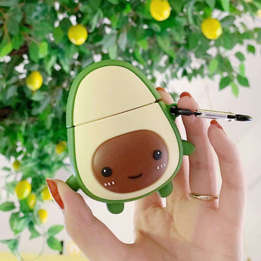 BONTOUJOUR AirPods Case, Super Cute Creative Fruit Avocado Shape Soft TPU Silicone Cover Protective Skin for Apple AirPods 1&2
