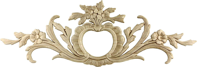 "Flowers Large Birch Wood Applique - 19 1/4"" x 6 1/2"" - Onlay Antique & Modern Furniture Doors, Walls Carved Ornamental Decor | G10-3360"
