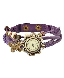 Loweryeah Girl Weave Butterfly Two Button Bracelet Watch 20.9cm
