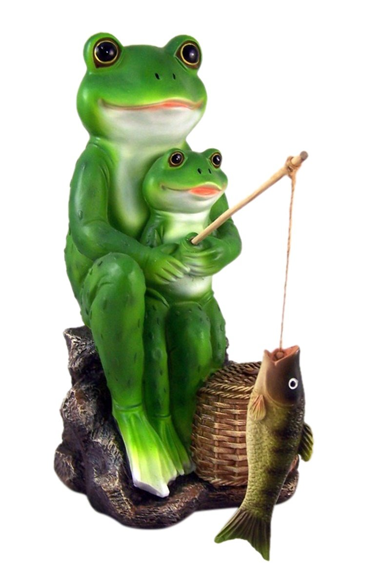 Fishing Lessons Frog Father and Son Statue