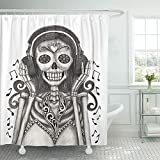 Emvency Shower Curtain 72x72 Inch Home Decor Day Skull Hand Drawing On Dead Tattoo Skeleton Catholic Culture Death Decay Print Fabric Bathroom Shower Hooks are Included