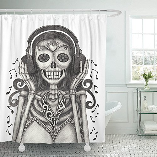 Emvency Shower Curtain 72x72 Inch Home Decor Day Skull Hand Drawing On Dead Tattoo Skeleton Catholic Culture Death Decay Print Fabric Bathroom Shower Hooks are Included by Emvency