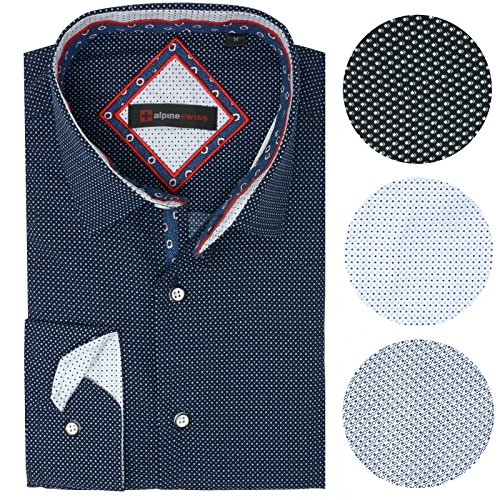 alpine swiss Wayne Men's Long Sleeve Button Down Dress Shirt Button Front Shirt Tucked or Untucked