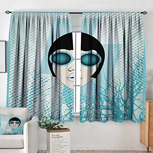 All of better Indie Room Darkening Curtains Retro Woman Portrait with Vintage Sunglasses Short Hair Abstract Trees Decorative Curtains for Living Room 55