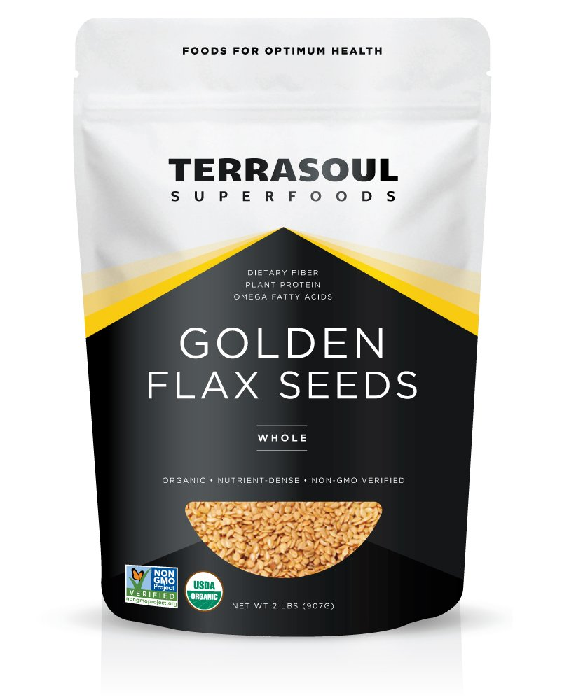 Terrasoul Superfoods Organic Golden Flax Seeds, 2 Pounds