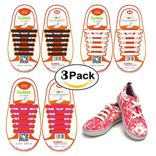 Shackcom No Tie Flat Shoelaces 3 Pack For Kids, Men & Women | Waterproof & Stretchy Silicone Tieless Shoe Laces | For Athletic & Dress Shoes, Hiking Boots & More | Eliminate Loose Shoelace Accidents (Ribbon 8 Volleyball 3)