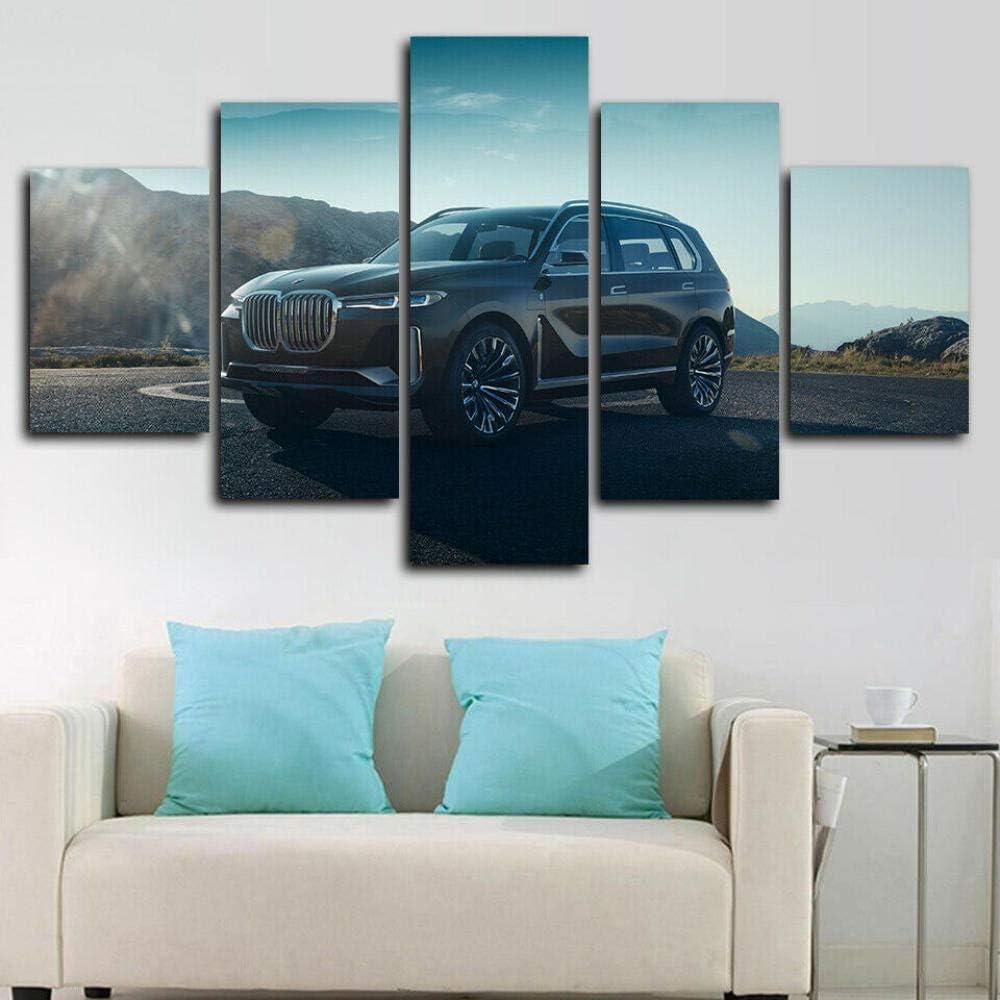 SINGLEAART 5 Piezas Lienzo Pintura,5 Paneles Cuadros,Impresión HD,Modular Póster,Decoración Hogareña,Mural Abstracto,Regalo Cumpleaños,2020 X7 SUV,150Cm×80Cm,con Marco