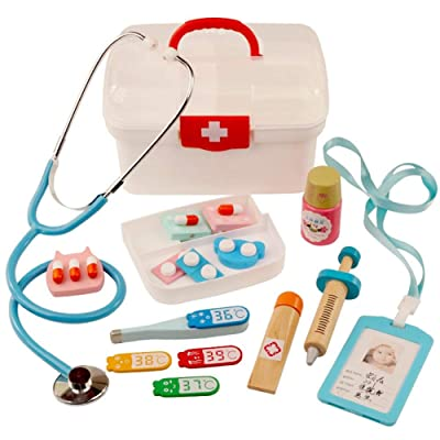 Durable Kids Doctor Kit with Electronic Stethoscope and 12 Medical Doctor's Equipment, Doctor Medical Toy Set Kid Role Playing Dress Up Game Set: Arts, Crafts & Sewing