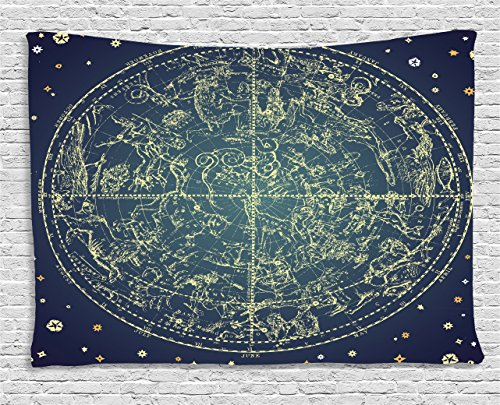 Constellation Chart (Space Tapestry by Ambesonne, Vintage Zodiac Chart Constellation of Northern Stars Sacred Astrology Image, Wall Hanging for Bedroom Living Room Dorm, 60WX40L Inches, Dark Blue Yellow)