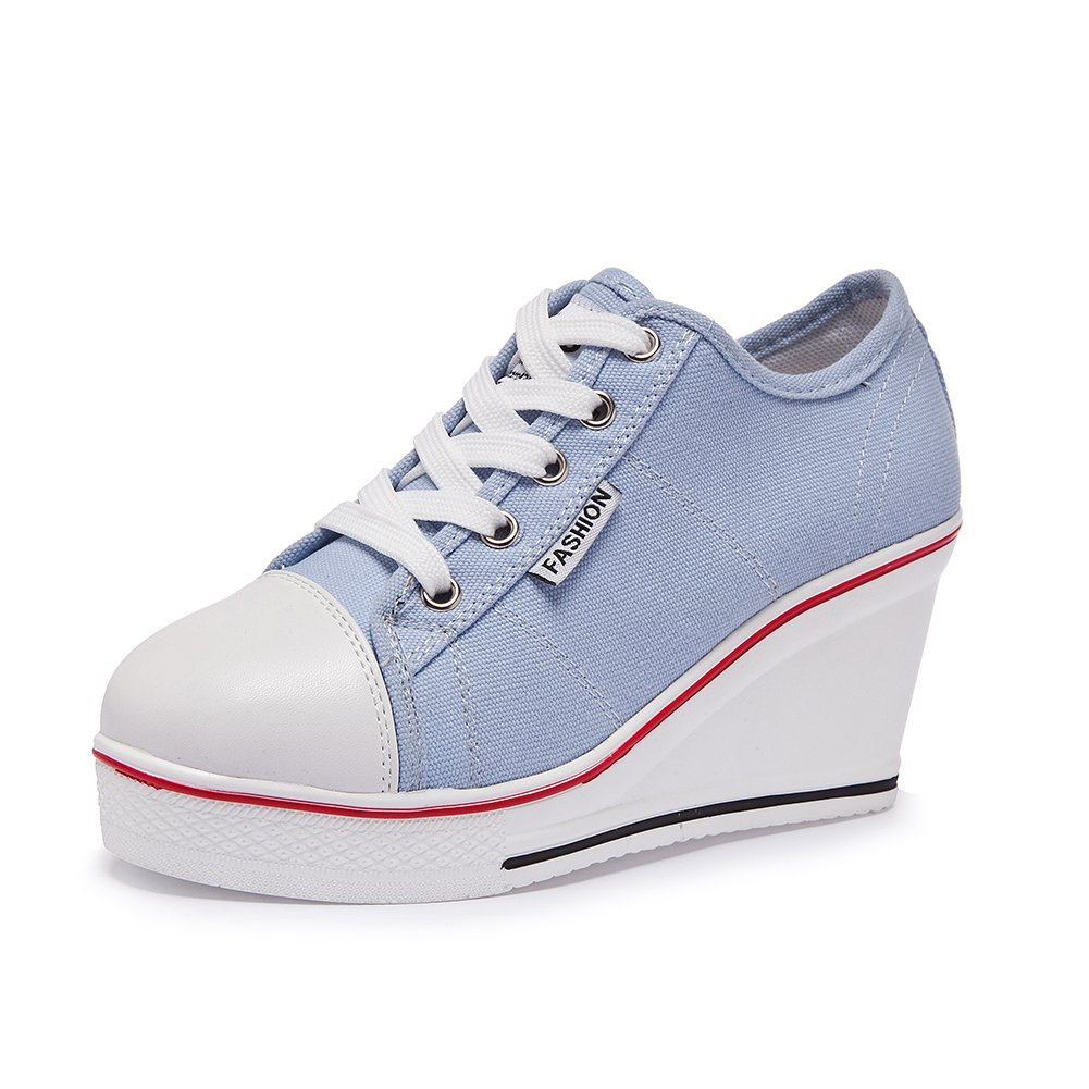 bluee Sokaly Women's Canvas shoes Wedge Heeled Platform Sneaker Fashion Pump shoes