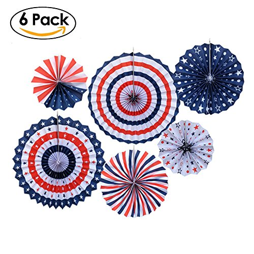 Patriotic Stars Backdrop (6Pack Party Fan Decorations, Tissue Paper Fans, Party Hanging Paper Fans for Patriotic Fiesta Birthday Carnival Christmas Event Home Party Photo Backdrop Decorations)