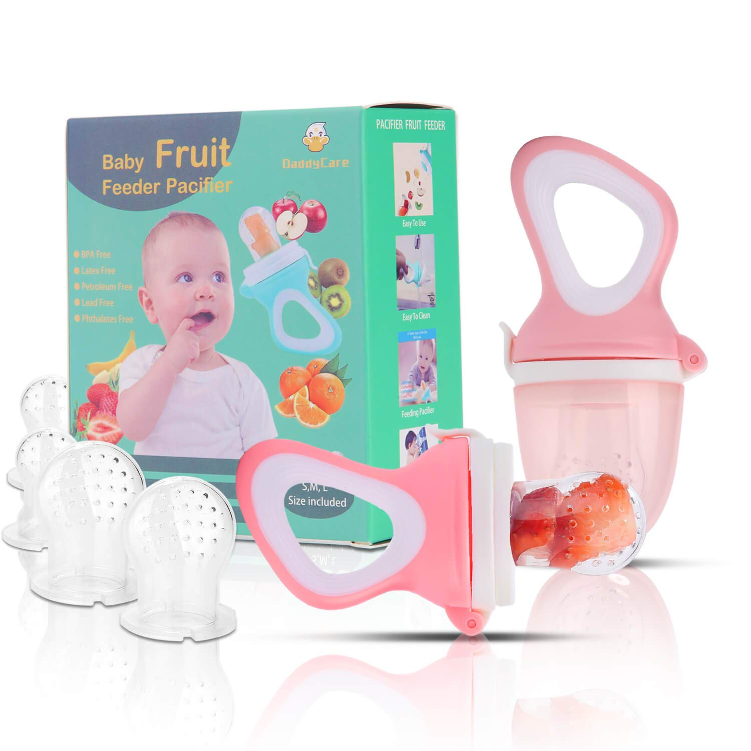 Baby Fruit Feeder Pacifier(2 Pack) - Baby Food Feeder - Infant Fruit Teething Toy for Toddlers Pacifier, Feeder, Teether with 6 PCS Silicone Pouches (Light Pink)