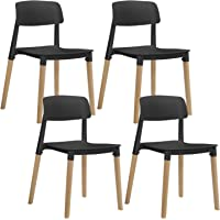 Artiss Belloch Dining Chairs Set of 4, Plastic Wooden Stackable Dining Chairs, Black