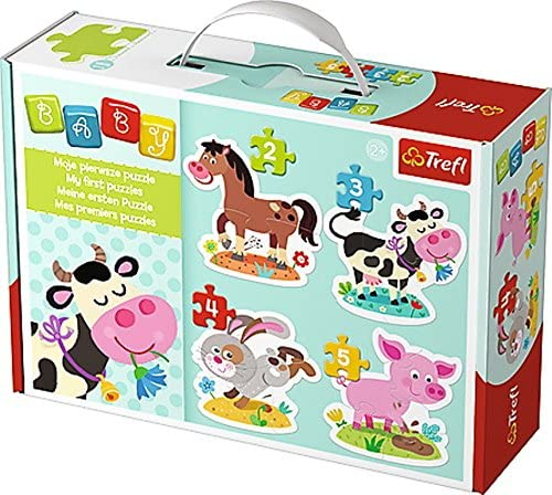 Trefl Baby Classics 2-3-4 and 5 Piece Puzzles Farm Animals Four in A Box