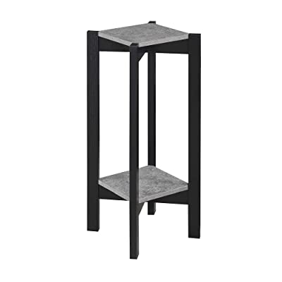 Convenience Concepts Planters & Potts Deluxe Square Plant Stand, Faux Cement / Black: Kitchen & Dining