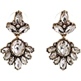 Fit&Wit Golden Tone Jewelry Sets Rhinestone Crystal Drop Dangle Earrings Or Statement Necklace