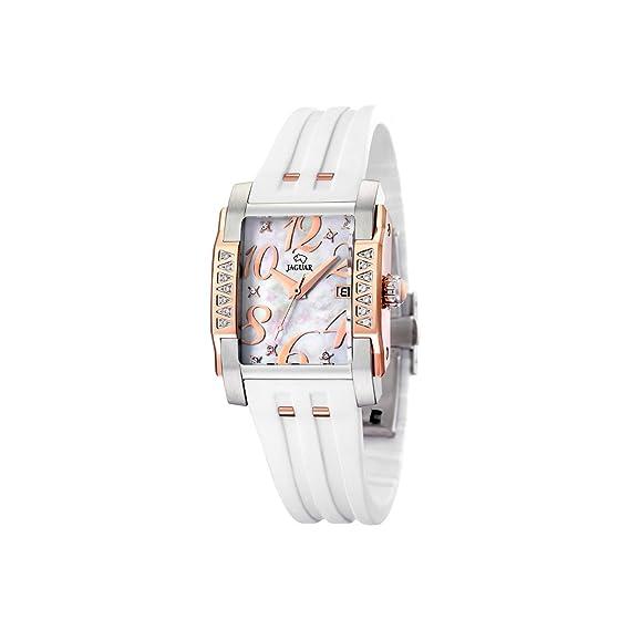 Jaguar 648/1 - Reloj de mujer de cuarzo, correa de caucho color blanco: Amazon.es: Relojes