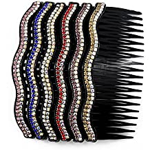 Yeshan 20 teeth Plastic Comb Hair Clip Rhinestone Hair Side Comb Wedding Bridal Hair Accessories for Women and Girls,4 inch(Mix 6 colors)