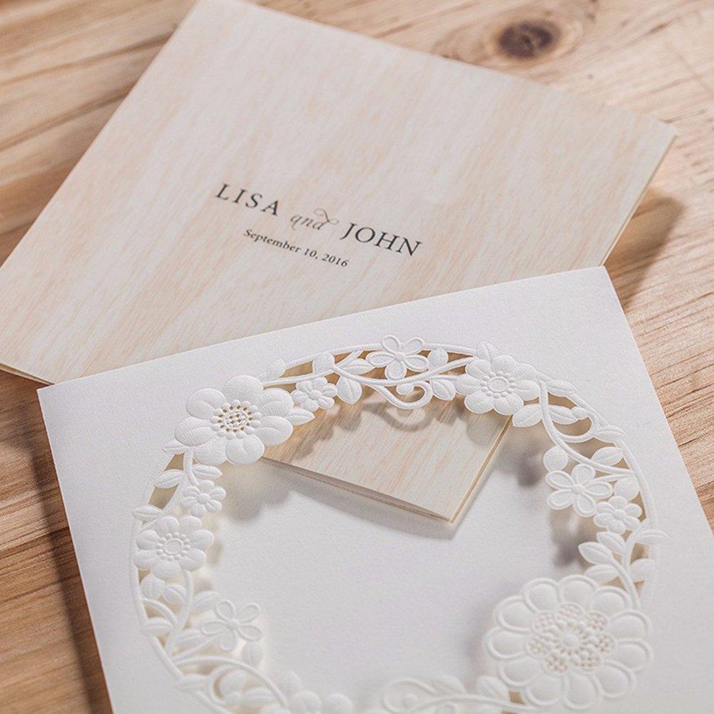 1 1pc CW5175 Dream Planner Piazza avorio bianco laser taglio pizzo fiore nozze inviti per limpegno matrimonio compleanno anniversario di laurea