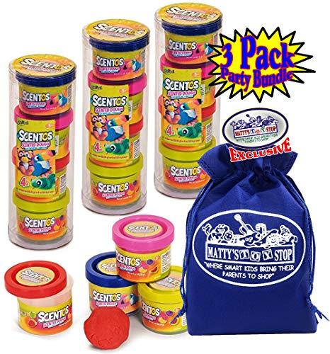 Schylling Scentos Scented Dough Mini 4-Pack of Colors (1oz Each) Party Favor Bundle with Bonus Storage Bag - 3 Pack (12 Cans & 12oz Total)