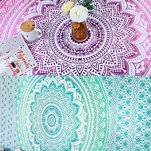 Folkulture Set of 2 Twin Tapestry Wall Hanging, Bohemian Mandala Tapestry or Picnic Boho Blanket or Tablecloth, Hippie Wall Tapestry or Yoga Mat for Meditation - 55x88 Inches, Green and Pink