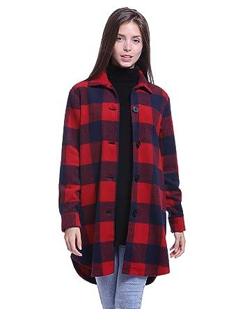 Fancyqube Women s Button Down Collar Neck Top Checkered Buffalo ... 3f62320ababa