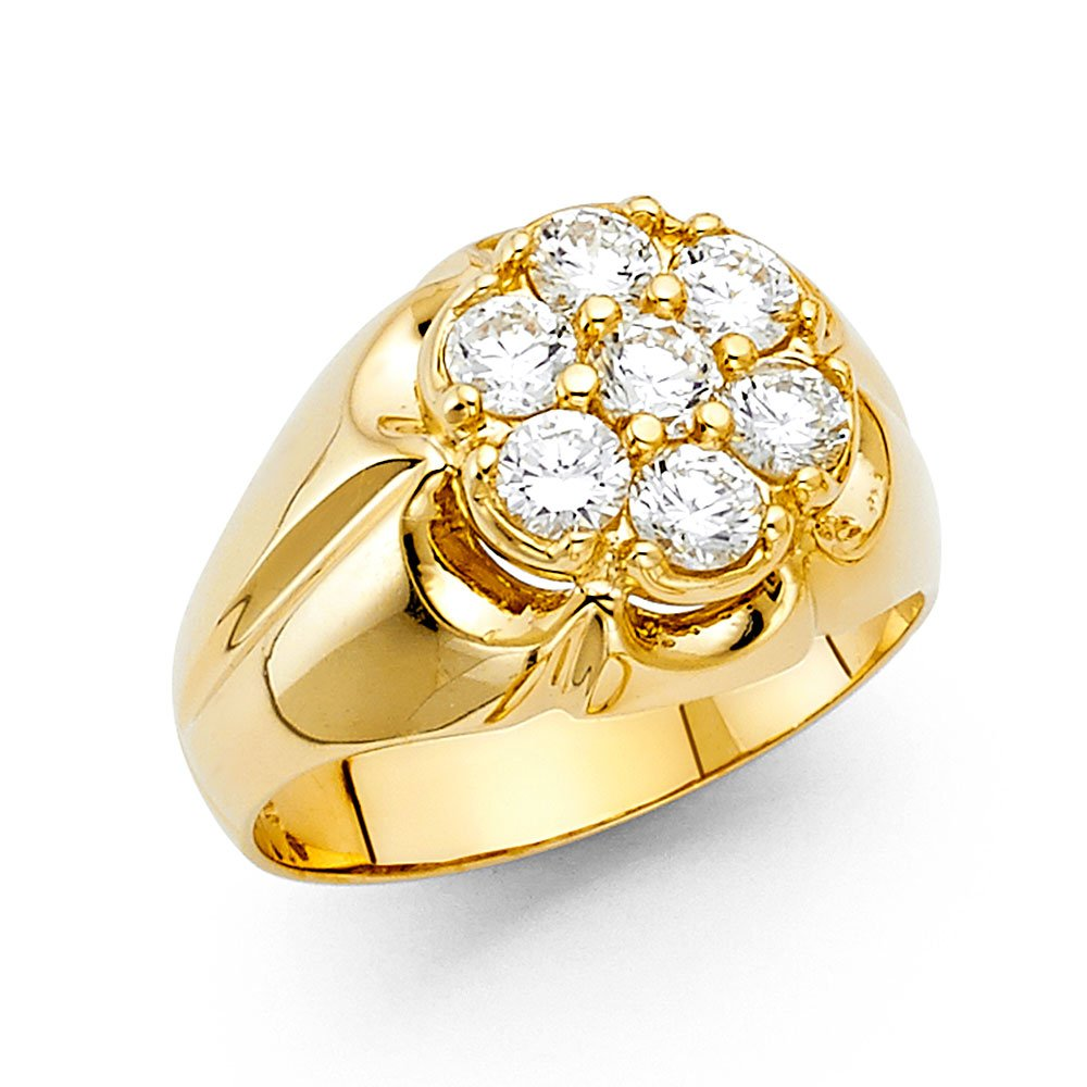 Men's Thick 14K Solid Yellow Gold Cubic Zirconia Ring, Size 13.5