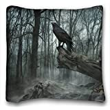 "Decorative Square Throw Pillow Case Animals Birds poe the crow raven gothic trees darl mood 18""*18"" Two Side"