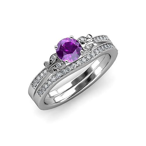 Amatista y Diamante mariposa anillo de compromiso y boda banda Set 1,30 ct TW