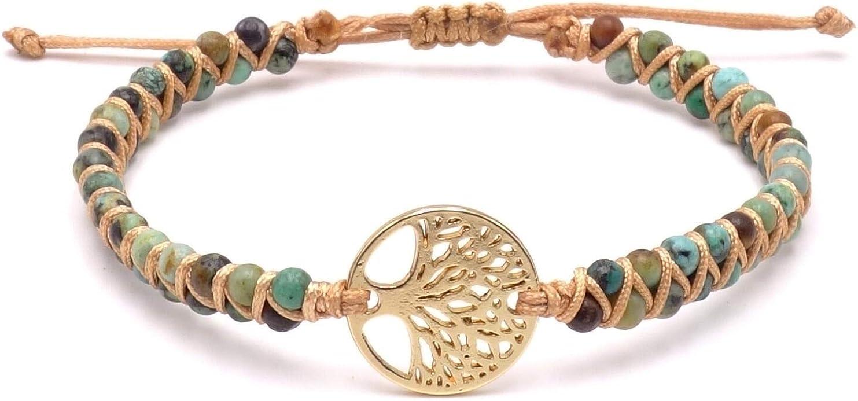 BENAVA - Pulsera de yoga para mujer con colgante del árbol de la vida, piedras preciosas de jaspe, perlas verdes y doradas, pulsera de la amistad