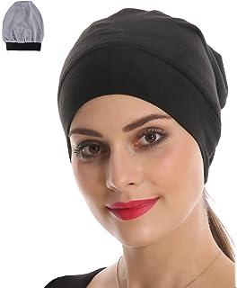 Navy Blue Women Organic Bamboo Cotton Satin Silk Satun Slap Night Cap Sleep Hat