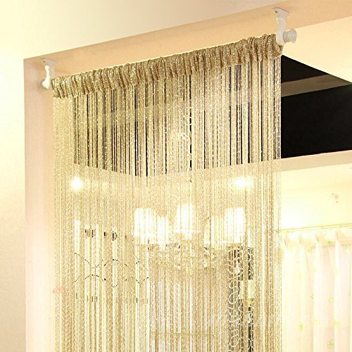 (Eyotool 1x2 M Door String Curtain Rare Flat Silver Ribbon Thread Fringe Window Panel Room Divider Cute Strip Tassel for Wedding Coffee House Restaurant Parts, Gold)