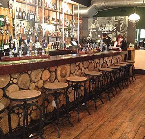 Bar Stool - Urban Vintage Retro Adjustable (66-85cm) Industrial Real Wood Top