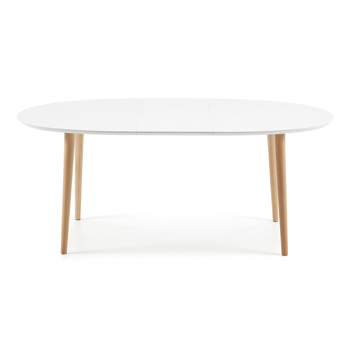 Kave Home Table Oqui Ovale Extensible 140 220 Cm Naturel Et Blanc  # Meuble Tv Kavehome