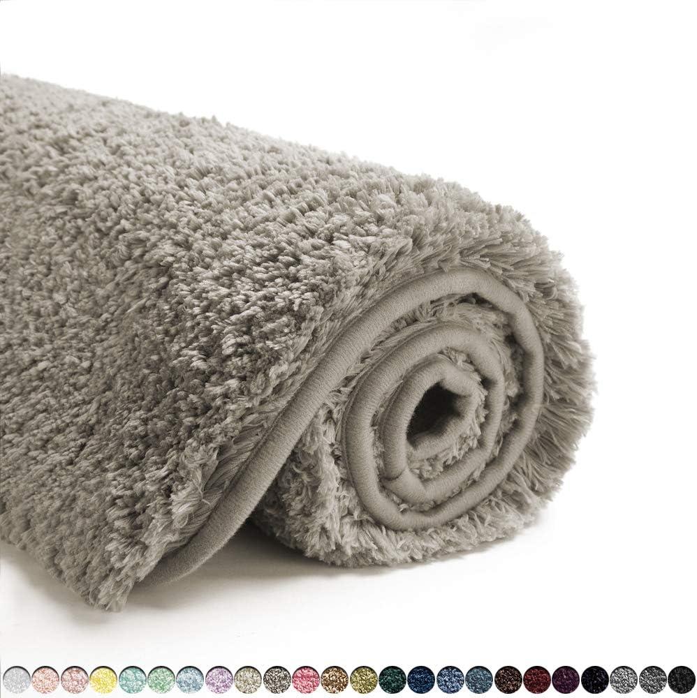 Suchtale Bathroom Rug Non Slip Bath Mat for Bathroom (16 x 24, Taupe Grey) Water Absorbent Soft Microfiber Shaggy Bathroom Mat Machine Washable Bath Rug for Bathroom Thick Plush Rugs for Shower