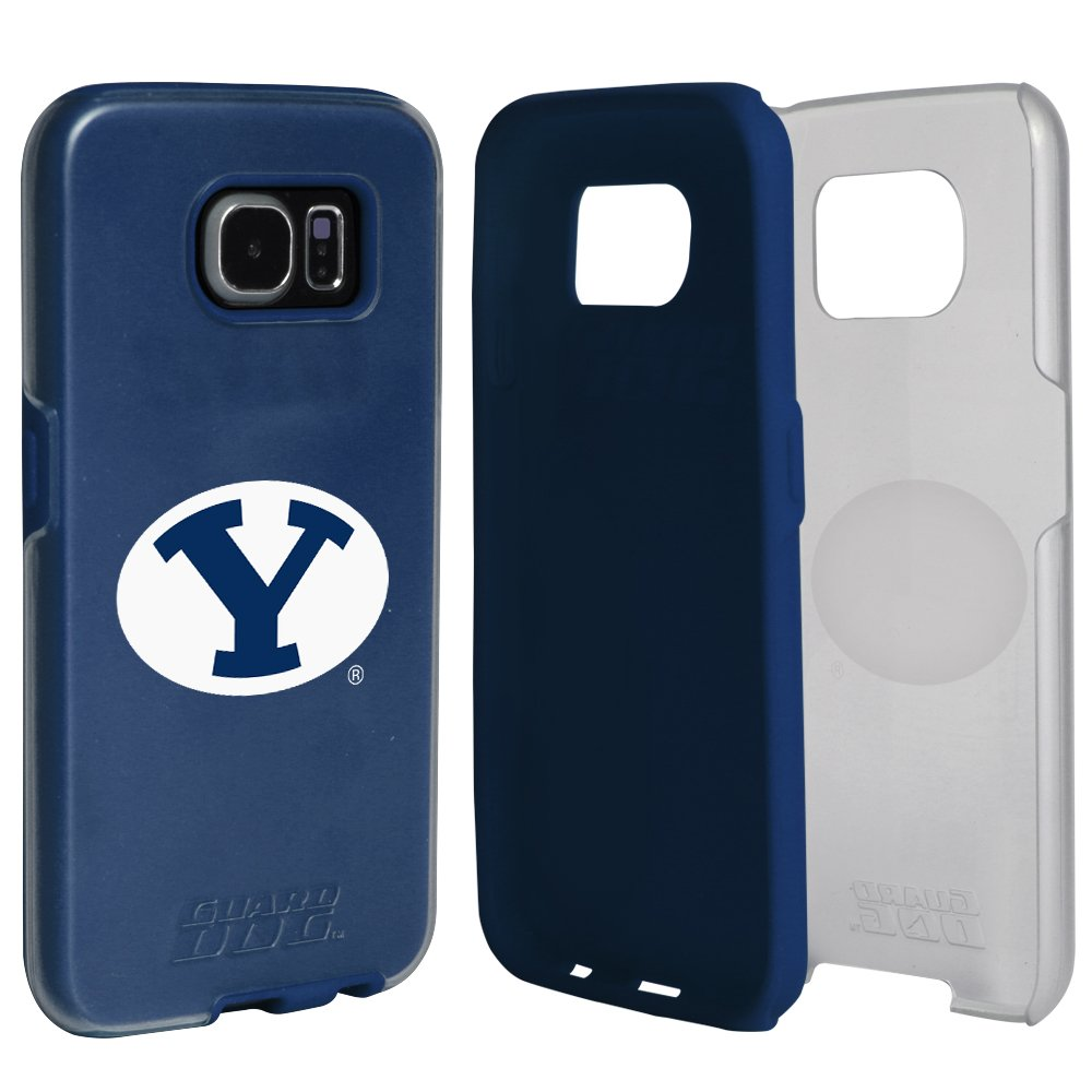 BYU Cougars Clear Hybrid Case for Samsung Galaxy S7 with Dark Blue Insert and Guard Glass Screen Protector
