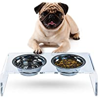 ZEXPRO Acrylic Elevated Pet Bowls - Raised Clear Feeding Stand for Cats and Dogs - 2 Stainless Steel Food Container - No…