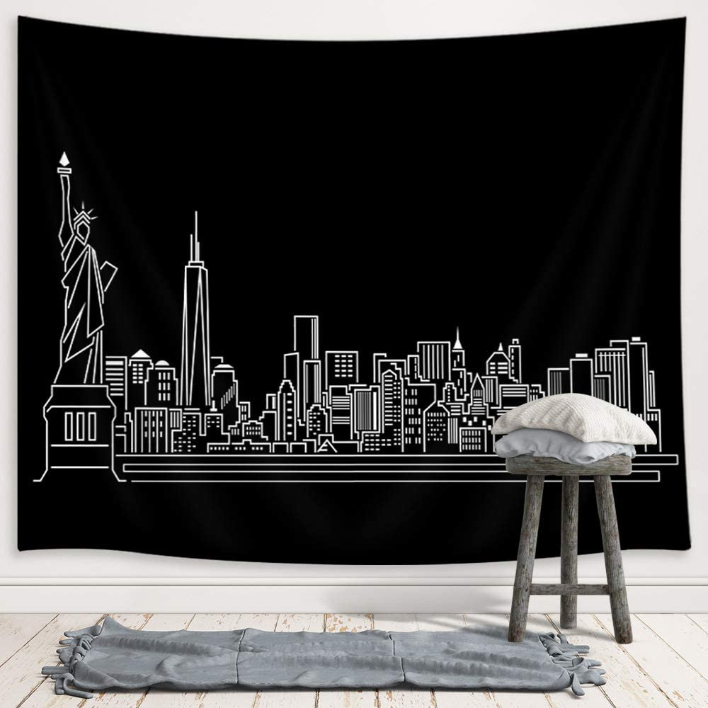 JAWO New York Skyline Tapestry, American City Silhouette Abstract Urban Line Upgrade Tapestries Wall Hanging for Bedroom College Dorm, TV Backdrop Table Cloth Profession Home Decor 71X60 Inches