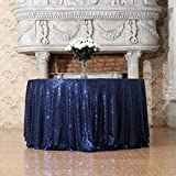 3e Home 70-Inch Round Sequin TableCloth for Party Cake Dessert Table Exhibition Events, Navy Blue