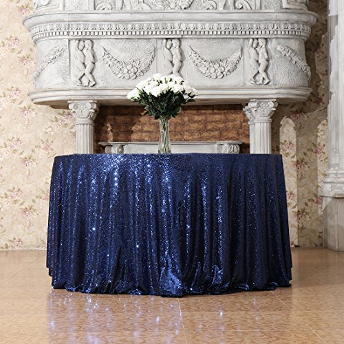 3E Home 50-Inch Round Sequin TableCloth for Party Cake Dessert Table Exhibition Events, Navy Blue