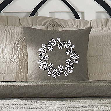 Piper Classics Farmhouse Cotton Pillow Cover, 18x18, Taupe-Grey, Embroidered Cotton Boll/Ball Wreath Accent