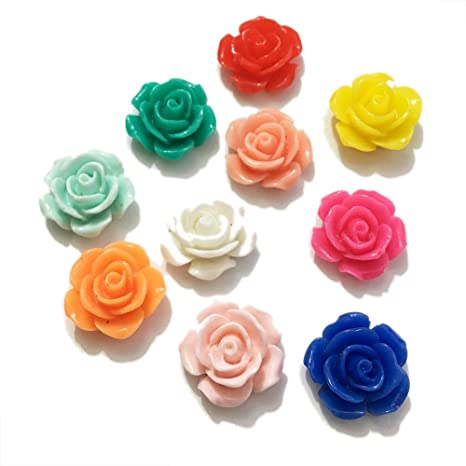 150pcs Rose Flower 3 Color Assorted Loose Beads Making Spacer Craft Arts