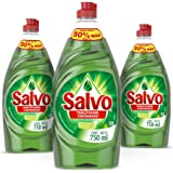 Salvo Lavatrastes Líquido Limón, 3 Botellas de 750ml c/u, Total 2.5L, empaque puede variar